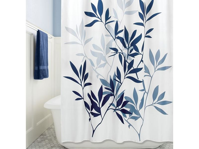 Navy Leaves <br>Shower Curtain