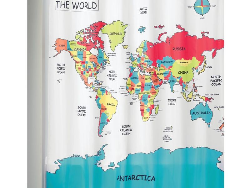 World Map <br>Shower Curtain