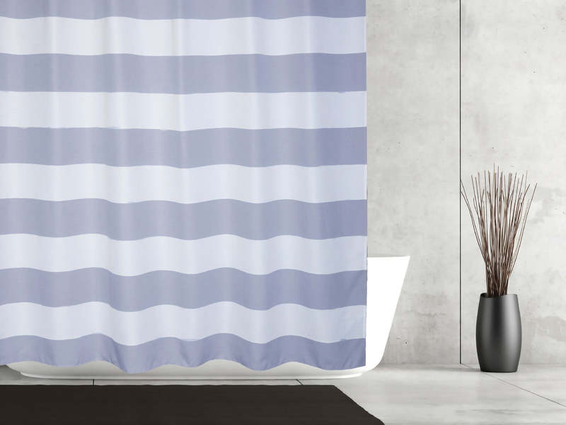 Queen Stripe Navy <br>Shower Curtain