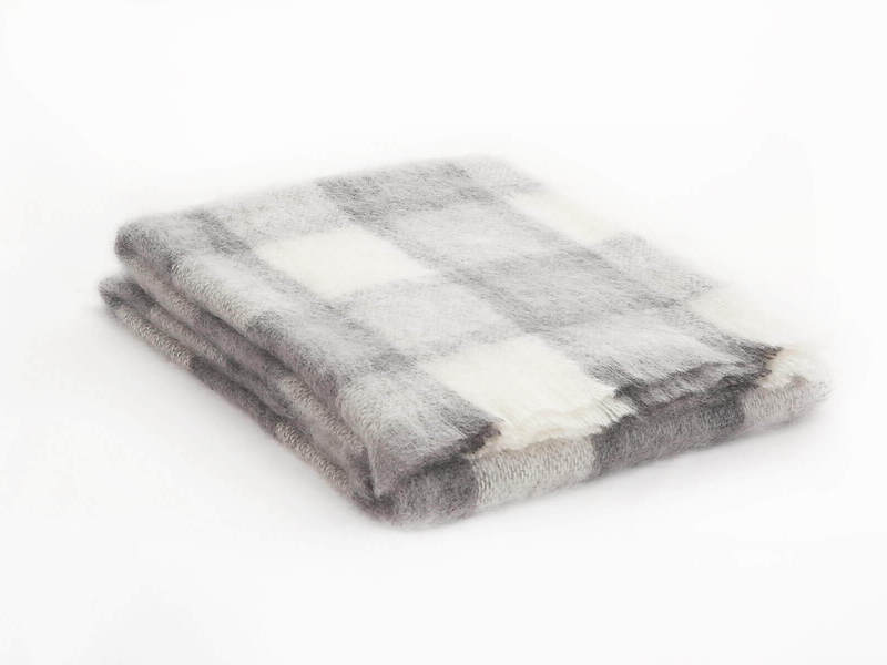 Brushed Mohair Throw Grey Plaid