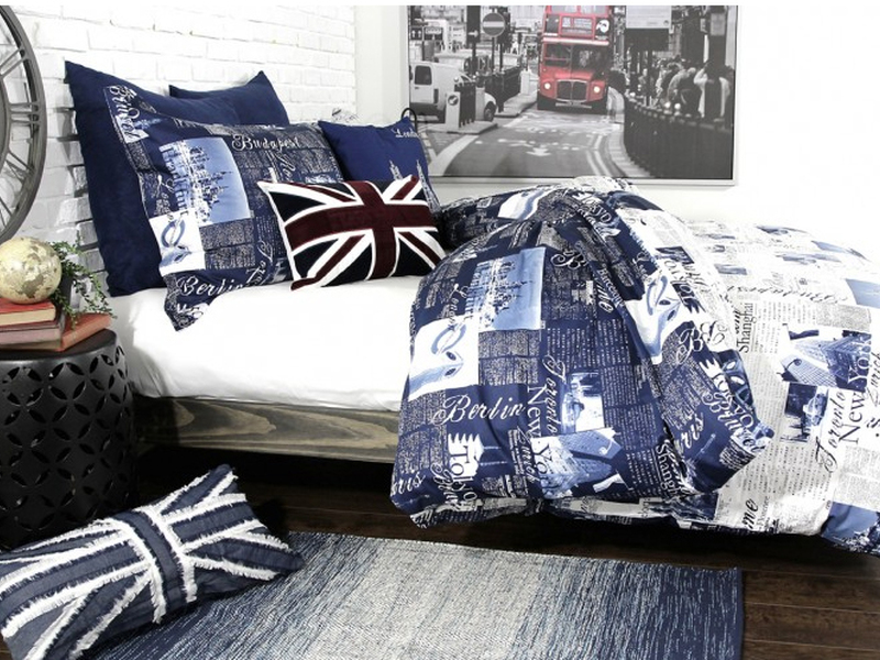 Passport Blue Bedding by Alamode