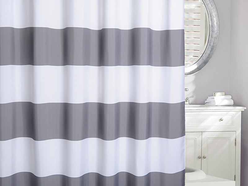 Rail Stripe Grey <br>Shower Curtain