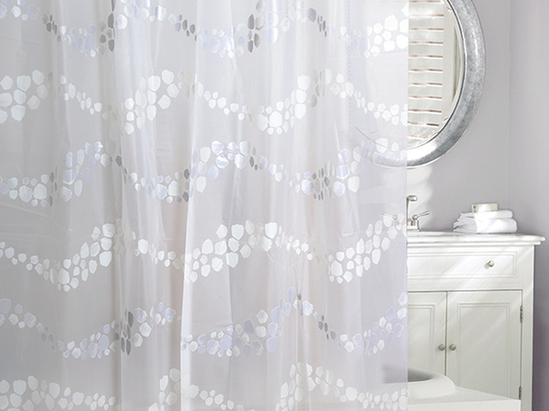 Stepping Stones Grey Shower Curtain