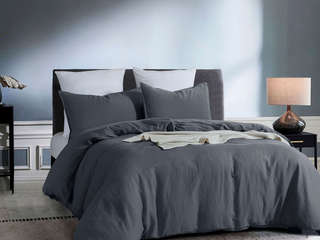 Coal Linen Cotton Bedding by Daniadown