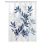 Navy Leaves Shower Curtain by Interdesign