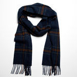 Indigo Rust Check 1902 Lambswool Scarves by John Hanly