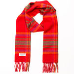Red Orange Plaid 1903 Lambswool Scarves by John Hanly