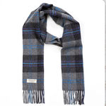 Mid Grey Charcoal Check 1904 Lambswool Scarves by John Hanly
