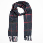 Grey Red Pink Check 216 Lambswool Scarves by John Hanly