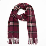 Maroon Black Check 243 Lambswool Scarves by John Hanly