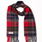 Charcoal Red Tartan 255 Lambswool Scarves by John Hanly