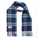 Mix of Blues with Red and Green Check 275 Lambswool Scarves by John Hanly
