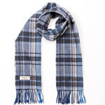 Blue Grey and Cream Mix Check 293 Lambswool Scarves by John Hanly