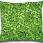 Green Handmade Crochet Cushion by Alamode Home