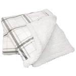 Grey Plaid Sherpini Throws