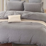 Grey Chambray Duvet Cover Set with Pillowcase by Daniadown