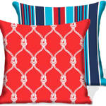 Red Rope/Stripe Outdoor Chair Cushions