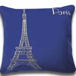 Paris Blue Postcard Cushions by Alamode Home